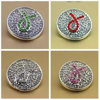 noosa druckknöpfe großhandel-Noosa knöpft die 4 Farbendruckpresse für noosa Leder DIY Armbandgeschenke Kristallrosafarbene Band-Brustkrebs-Bewusstseins-Klipp-Knöpfe