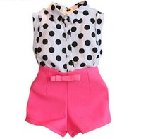 Wholesale Lycra T Shirt Kids - 2pcs set 2016 Children Set Kids Suit Outfits gilrs summer style girls clothes dot tops T shirts+pink shorts sweet bow baby girls clothing