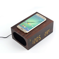 Wholesale Qi Alarm - Wholesale- Qi Wireless Charge Wireless Bluetooth Speaker Built-in Mic Subwoofer AUX USB Stereo Sound Box Wood NFC Alarm Clock Time Display