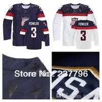 Personnalisé Personnalisé USA Cam Fowler Jersey # 3 2014 Olympic Sotchi American Hockey Jerseys Personnalisé Personnalisé Bleu Blanc