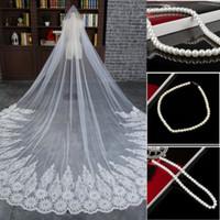 Wholesale Cheap Orange Necklace - Free necklace !Length 3 M Cheap Veil Long Chapel Length Bridal Veil Appliques Wedding Veil Lace Tulle with Comb