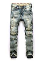 Wholesale Vintage Pants Men Plaid - 2016 Hot men jeans famous brand new vintage fashion design motorcycle hole torn denim trousers Slim Fit pants size 30-38