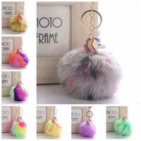 Wholesale rabbit horse - 21 Colors 9cm Horse Pompom Rabbit Fur Pom Pom Keychain Fur Ball Key Chain Car Women Bag Charm Bag Accessories Pendants CCA7176 200pcs