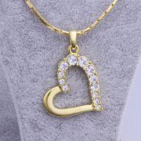 сердце подвески бесплатно оптовых-Бесплатная доставка новый 24 к желтое золото 18 к сердце кулон ожерелья ювелирные изделия GN512 мода драгоценный камень Кристалл ожерелье рождественский подарок