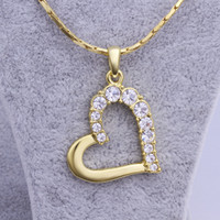 Wholesale 24k Rose Gold Chain - Free shipping brand new 24k 18k yellow gold heart Pendant Necklaces jewelry GN512 fashion gemstone crystal necklace christmas gift