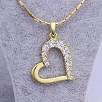 pierre de cristal rose achat en gros de-Livraison gratuite marque nouvelle 24 k 18 k or jaune coeur pendentif colliers bijoux GN512 mode gemme cristal collier de noël cadeau