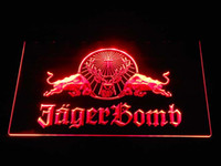 Wholesale Led Residential Lighting - a233 Jagermeister Jager Bomb Bull Sport Bar Beer LED Neon Light Sign Wholeseller Dropship Free Shipping 7 colors to choose