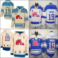 Wholesale Quebec Nordiques Hoodie - Quebec Nordiques Joe Sakic Hooded 19 HOme Blue White Old Time Joe Sakic Pullover Sweatshirt Hoodies Jersey Hoody Stitched
