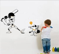Wholesale Kid Robot Decal - Funny Robots playing baseball wall stickers for kids room zy1104 Creative DIY partern wall decals home decor
