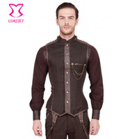 Wholesale Gothic Men Clothing - Fall-Punk Brown Black Striped Stand Collar Overchest Zipper Mens Steampunk Corset Waistcoat Gothic Clothing Vintage Jacket Men Vest