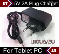 Wholesale Charger A13 Eu - 5V 2A DC 2.5mm EU US UK Plug Converter Charger Power Adapter for tablet PC Allwinner A23 A13 Q88 TC2