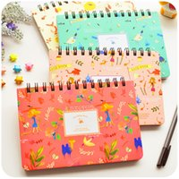 Wholesale diary book flower - Wholesale- Blooming Flower Notebook Coil Spiral Planner Weekly Agenda Diary Book Stationery Papelaria Material Escolar Office Supply