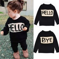 Wholesale Handmade Baby Knitted Cardigan - Wholesale-All handmade good quality soft baby clothes toddlers sweater knitted top Hello Bye funny sweater