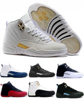 Wholesale Ocean Games - 2017 air retro 12 12s men Basketball shoes ovo white GS Barons White Black Wolf Grey TAXI Flu Games Playoffs gym red Sneakers