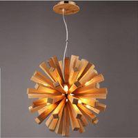 Wholesale Wood Handcraft - Brief Nordic Wood Handcraft DIY Loft Pendant Light 10 Heads Dining Hall Bar Cafe American Country Pendant Lamp Art G9 Bulbs