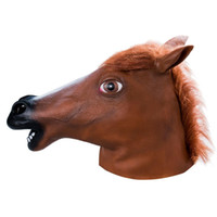 Wholesale Latex Mask Girl - Wholesale Horse Head Mask Personal Novelty Animal Mask Hot Sale Brown Latex Horse Mask for Boys Girls