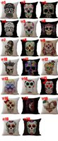 Wholesale skull bedding sets online - Halloween Skeleton Sugar skull Pillow Cases Cotton Linen cushion Cover Throw Pillow case Pillow cover Square Bedding sets Pillowslip