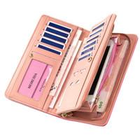 Wholesale snap purses - Wholesale- Women's Long Purses Large Capacity Multifunction Snaps Button Zipper Cross Embossed Mobile Phone Bit Card Holder Clutch Wallets