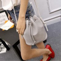 Wholesale Drawstring Shoulder Handbag - Ladies Bucket Bag Candy Color Women Shoulder Bags Quality PU Leather Drawstring Shoulder Bags Handbags For Women