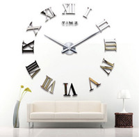 Wholesale acrylic mirror clock resale online - classic rome number fashion wall clock creative clock home decoration diy wall clock acrylic mirror wall clock stickers