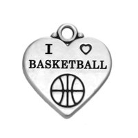 Charmes De Basket-ball Plaqué Argent Pas Cher-New Arrival Antique Silver Plated Sports Charm J'aime le basketball Sporty Metal Heart Gravé Charm Jewelry