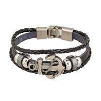 wulstklammern großhandel-Mix Style Link Armbänder Anker Metallverschluss Infinity Multilayer Leder Perlen Armbänder für Männer DIY handgemachten Schmuck