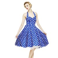 Wholesale Blue Polka Dot Skirt - Women Skirt Audrey Hepburn Style 1950s 60s Swing Print Sleeveless Polka Dot Dress