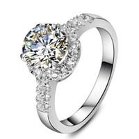 Wholesale White Gold Round Ring Mountings - 2CT Excellent Round SONA Diamond Engagment Ring for Women Micro Paved Semi Mount Sterling Silver in 18K White Gold Plated