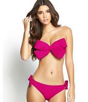 Wholesale Sexy Swimwear Big Women - 2016 Women 9 Color Sexy SwimWear Solid Swimwear Brazilian Bikini Big Bow Bandeau Beach Wear Halter Swimsuit Push Up Bathing Suit