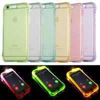 Para iPhone 8 Caso Chamada Lightning Flash LED Light Up Soft TPU Ultra Delgado Claro Capa à prova de choque Transparente Silicone Clear Galaxy S8 S8Plus