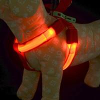 köpek kemer nakliye toptan satış-E19 ücretsiz kargo USB şarj edilebilir pet köpek koşum LED ışık orta büyük köpekler için pet kemer aydınlık köpek koşum