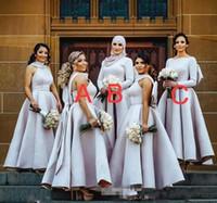 mor kadın gelin elbiseleri toptan satış-Işık Mor Puf Büyük Yay Gelinlik Modelleri Müslüman Arapça Kadınlar Örgün Önlük artı boyutu düğün parti elbise