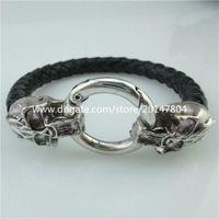 Wholesale Skull Connector Beads - 13874 2PCS Vintage Skull Clasp Connector for Men Punk Bracelet Necklace End