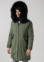 Wholesale Men Detachable Real Fur Collars - Mr furs Green jacket man Long Parkas hood with real raccoon fur collar warm Liner Detachable Canada UK