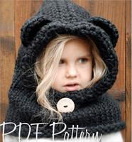 Wholesale kid crochet shawls resale online - 2017 Beanies Hats Explosive hat for Kids animal Cartoon Bear Wrinkle Ear Outer Shawl Kid s Cloak Cap