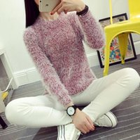Wholesale Purple Mohair - Women Fashion Autumn Winter Warm Mohair O-Neck Women Pullover Long Sleeve Casual Loose Sweater Knitted Tops