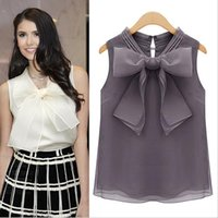 Wholesale Purple Blouses For Women - Europe Station Nice Summer New Ladies Tops Blouses Big Bow Organza Sleeveless Shirt Casual Loose Blouses for Women