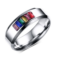 Wholesale ring laser engraving - Free Laser Engraving 8mm Stainless Steel Fashion Crystal Rainbow Wedding Rings Gay Lesbian Jewelry