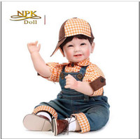 Wholesale Tooth Doll - New Arrival Lovely 4 Teeth Smiling Boy Doll 22 Inches Silicone Reborn Baby Realistic Handmade High Grade Gift Collection Hobbies