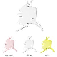 Wholesale Wholesale State Shaped Necklaces - Wholesale 2017 fashion Alaska State Charm Necklace, 18K Rose Gold AK State Card Necklaces, The State Shaped Necklace With A Heart