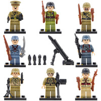Wholesale Toy Soldiers Buildings - 8pcs lot World War 2 Military Army Soviet US Soldier Hitlerry figures Building Block Brick Toy
