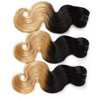Wholesale Dip 28 - Ombre Hair 100% Malaysian Hair Weave Weft Body Wave Ombre Dip Dye Two Tone #T1B #27 Hair Extension 14-30 7A 3pcs lot Ombre Hair