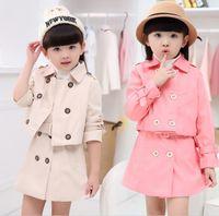 Wholesale Pink Tutu Coat - Autumn Winter Girl Outfits Set Jacket Wind Coat + Double-Breasted Vest Dress 2pcs Outfit Children Leisure Sport Set Khaki Pink K7908
