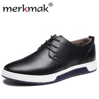 Wholesale Men Drivers Shoes - Merkmak Winter Casual Shoes Warm Fur Leather Men's Flat Shoes for Man Brand Leisure Waterproof Driver Fashion Sneakers Footwear