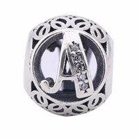 Wholesale Vintage Sterling Bracelets - AAA Clear CZ Vintage Letters A Charms Beads Fit Pandora Bracelet 925 Sterling Silver Alphabet A Beads Diy European Fine Jewelry Making BF28