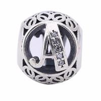 armband, das briefe macht großhandel-Klarer Kristall Vintage Buchstaben A Charms Perlen für Pandora Armband 925 Sterling Silber Alphabet A Perlen Diy European Fine Jewelry Making