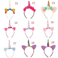 Wholesale baby birthday crowns - Baby Unicorn Party Hairwear Children Birthday Party Flower Hair Clasp Cosplay Crown Baby Cute Lovely Headband Cat Ears