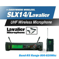 Wholesale wireless headset microphone system uhf - Microfono Free Shipping! SLX14 SLX1 UHF Professional Karaoke Wireless Microphone System With Bodypack Transmitter Lapel Lavalier Clip Mic