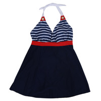 Wholesale Sleeveless One Piece Bathing Suit - Tie Design Sleeveless V-Neck Striped Backless One-Piece Swimwear For Women High Waist Swimsuit Bathing Suits-red