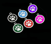 Wholesale Dog Collars Paws - High Quality 6 Color S L Size Colorful Paw Type Pet Dog Cat Tag ID Footprint Pet Pendant Dog Accessory Hotsale Fit Pet Collar 100PCS LOT